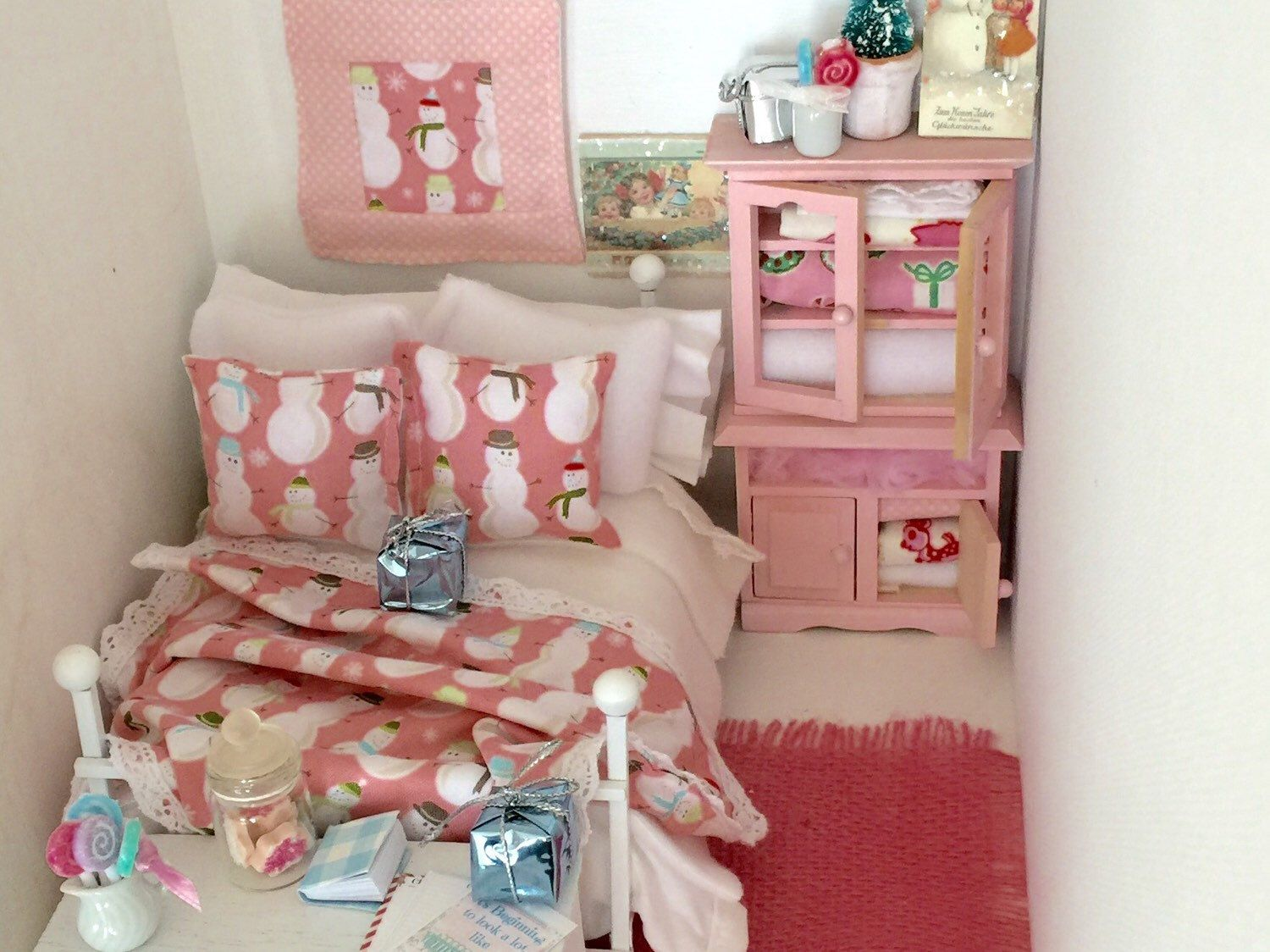 A personal favorite from my Etsy shop https://www.etsy.com/listing/253457013/pink-christmas-snowman-bedding-and-bed