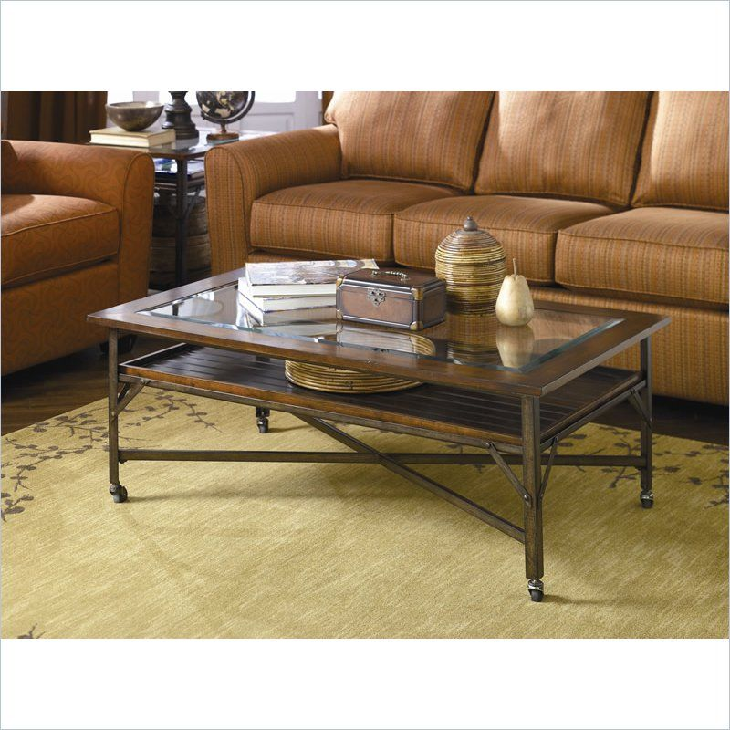 48 inch wide Hammary Mercantile Rectangular Cocktail Table in