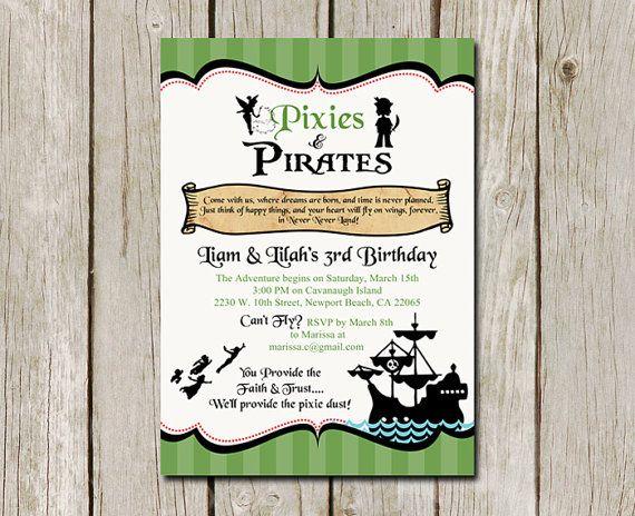 Pixies and pirates birthday invitation peter pan printable pixies and pirates birthday invitation peter pan printable digital invitation filmwisefo