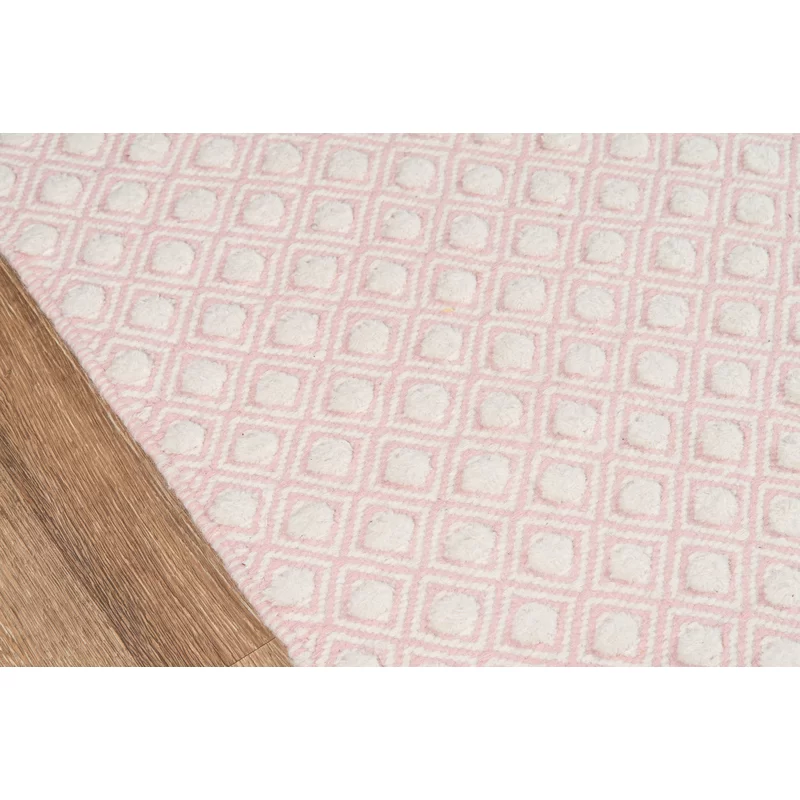 Langdon Windsor Handwoven Flatweave Wool Pink Area Rug