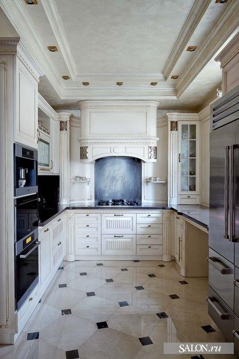 White Neoclassic Kitchen Floor Design Home Home Appliances