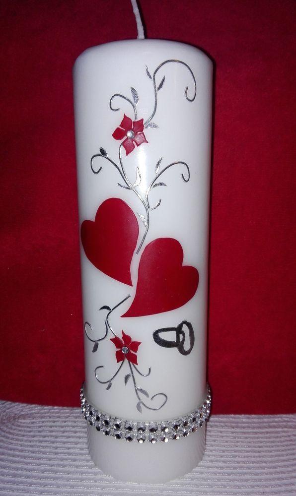 hochzeitskerze rot silber edel kerze zur hochzeit mit strassteinen 22x7cm dekor mumlar. Black Bedroom Furniture Sets. Home Design Ideas