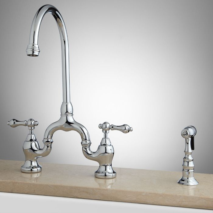 Ponticello Bridge Kitchen Faucet with Hand Spray - Chrome - $219.95 ...