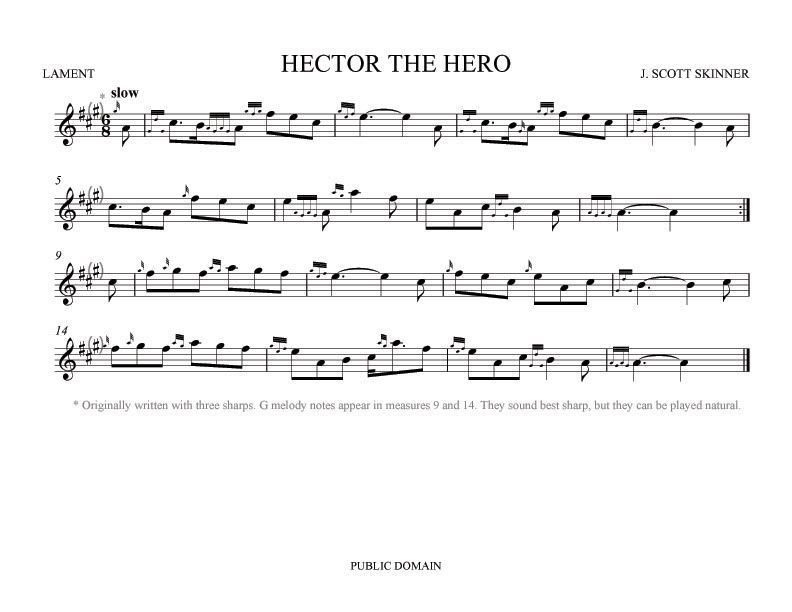 Easy Bagpipe Sheet Music | My setting of Hector the Hero