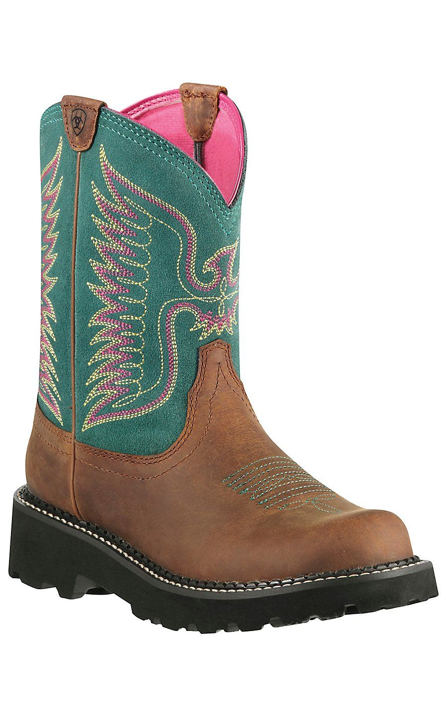 6be2ee0cf96 Ariat® Fatbaby™ Women's Powder Brown w/ Teal Thunderbird Upper ...