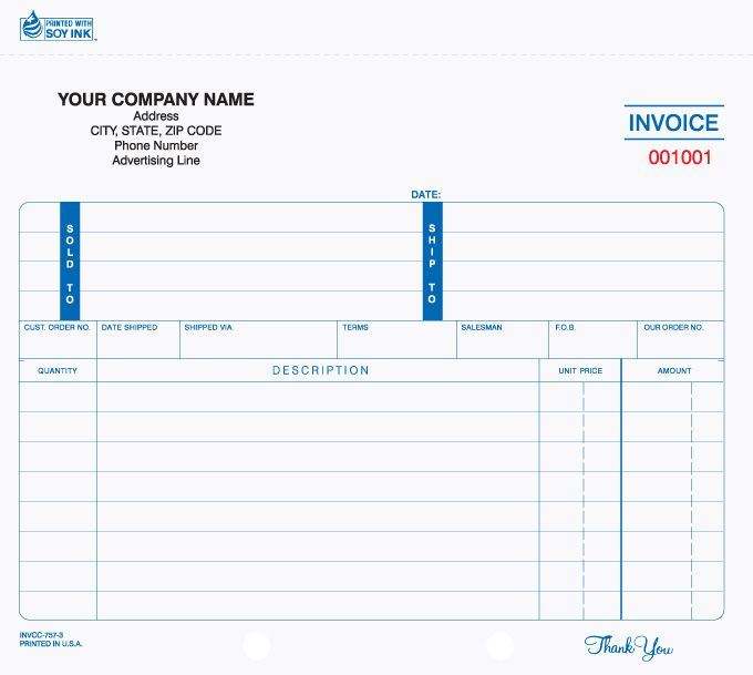 INVCC-757, Snap-a-Part Invoice (Carbonless) Invoice Forms - printing invoice