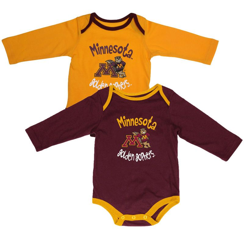 Minnesota Golden Gophers Infant Biggest Fan Long Sleeve 2-Pack Creeper Set – Maroon/Gold