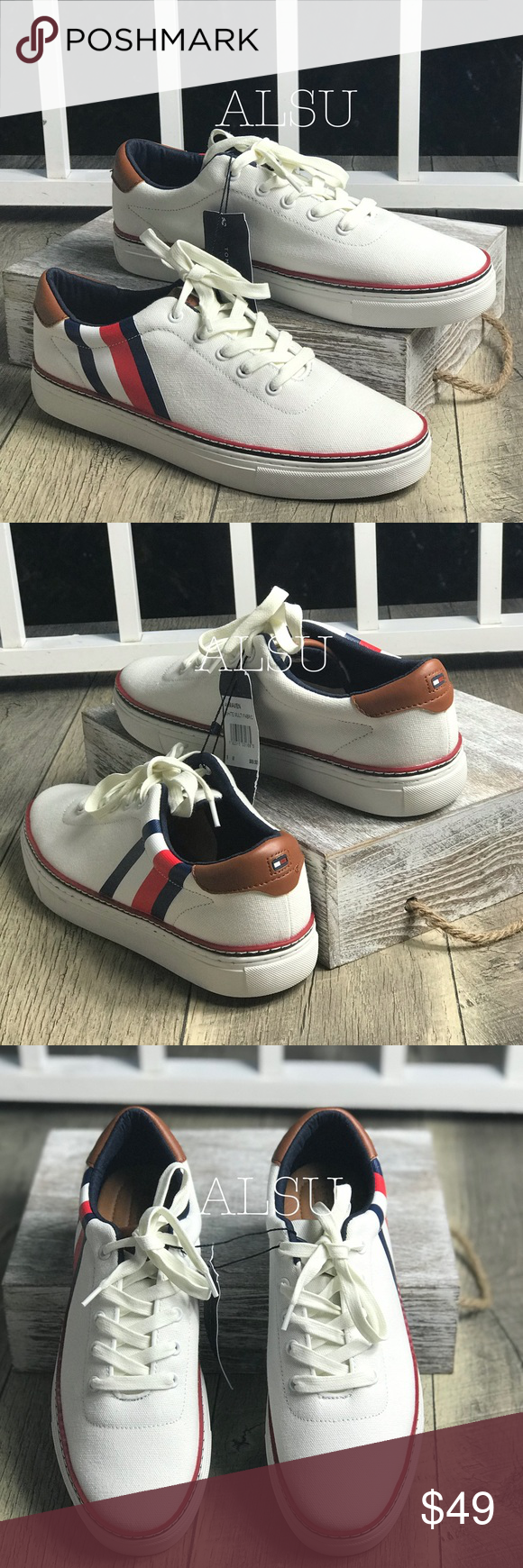 abf09498dd922 NWT Tommy Hilfiger Men s Maven Sneakers White Brand new