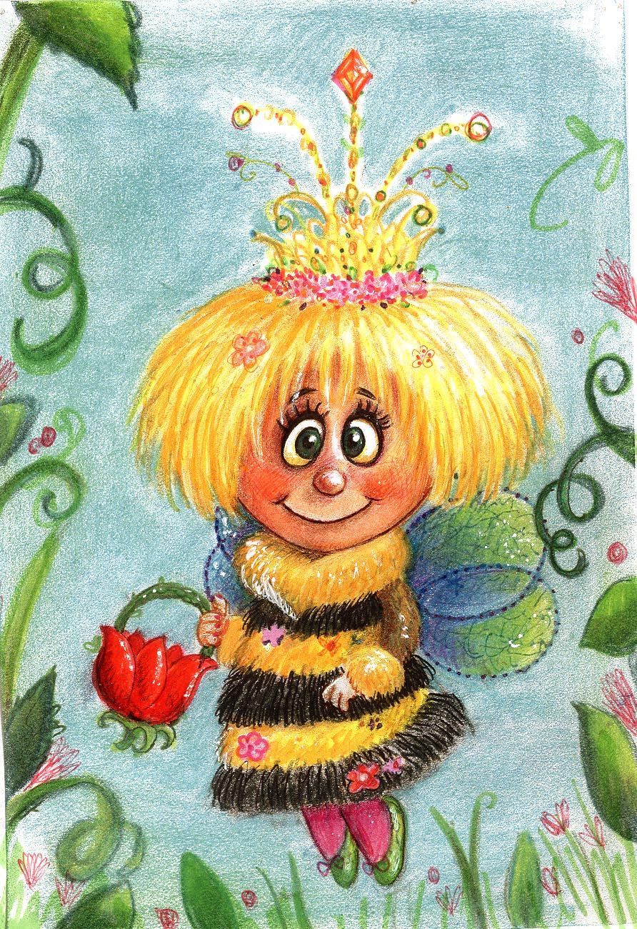 Fairy Bee  children's book illustrations and more! the princess Bee ,sweet art by Pilar