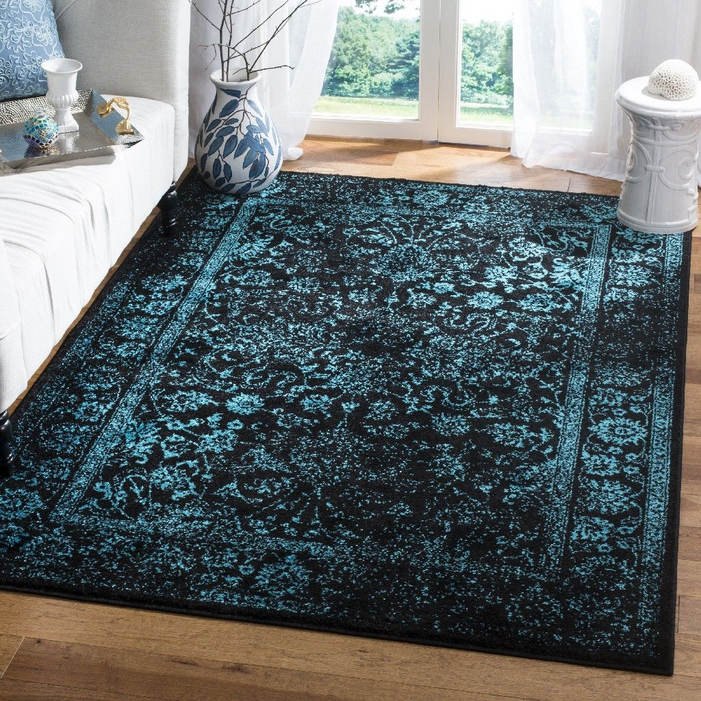 Adirondack Collection 5 1 X 7 6 Rug In Black And Teal
