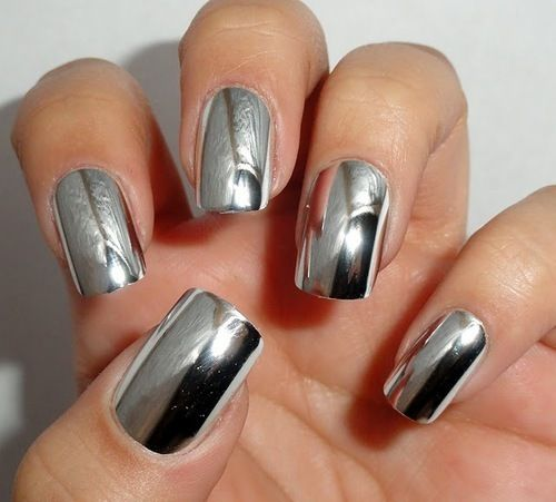 Beautiful Spring Nails With Silver Design Nails Pinterest Uña - uas efecto espejo