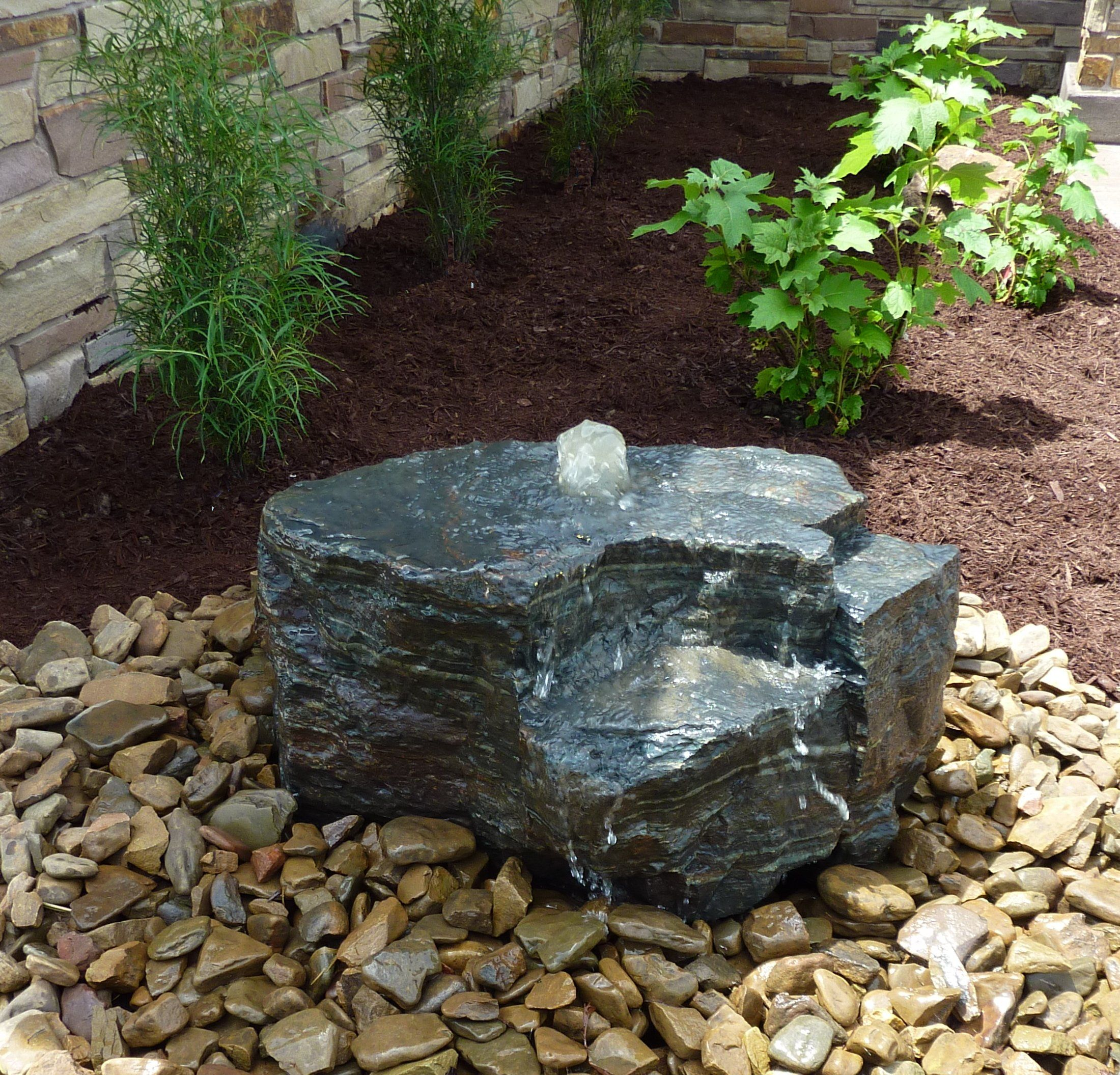 Boulder bubbler by Land Escapes Inc. | Water features in the garden, Small  japanese garden, Rock garden landscaping