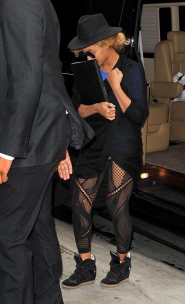 LOVING Beyoncé's Isabel Marant wedge sneakers and mesh leggings!!!!