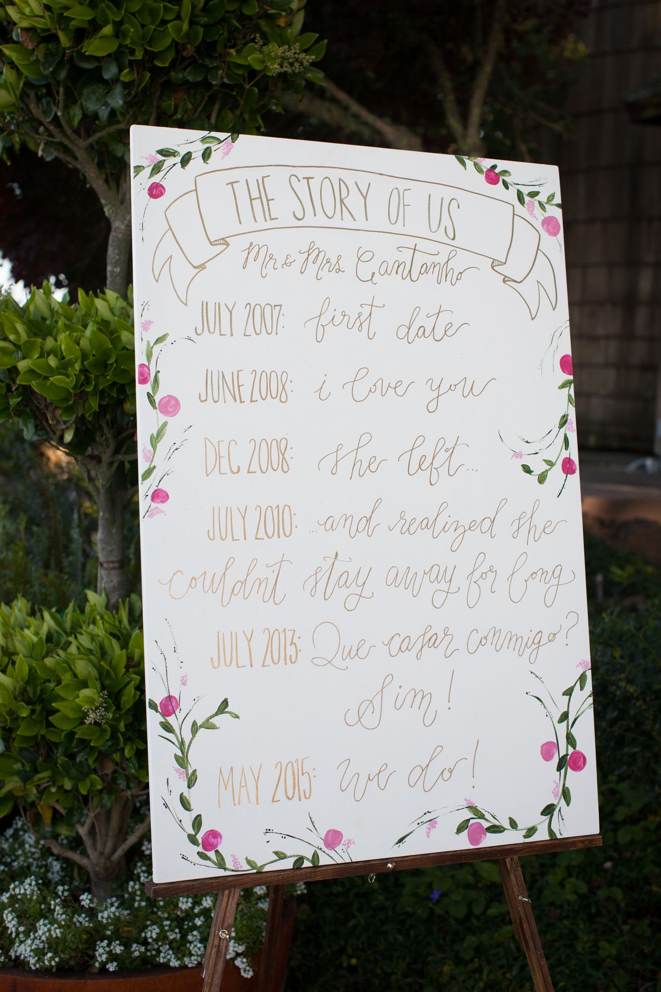 Custom floral signage provided by True Emerald Styling