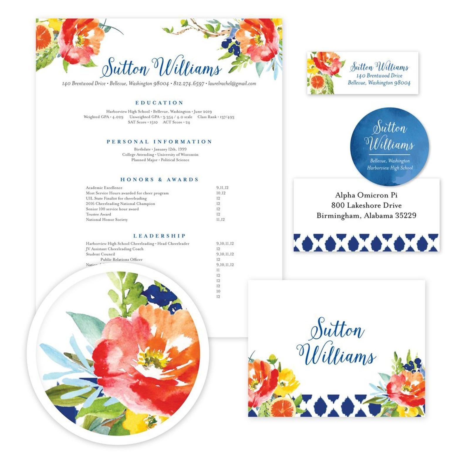 Floral stationery citrus garden cute custom stationery