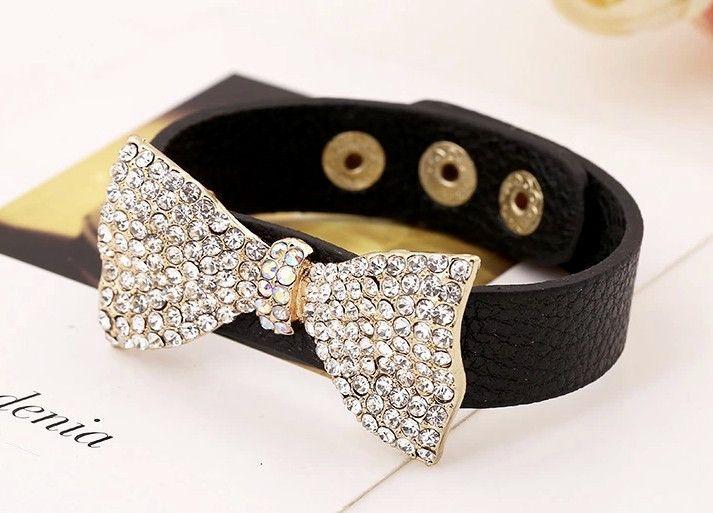 Bracelet, Bow Leather & Crystal