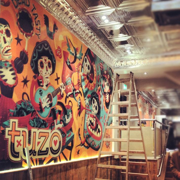 Mexican Burrito Bar Mural By Steve Simpson Via Behance Grafx And