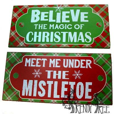 """Holiday Wall Hanging Assorted Priced individually, choose style Color: Red, Green, White Size: 7"""" x 15"""" x 0.25"""" Material: MDF Holiday signs with wording: Meet Me Under the Mistletoe #TrendyTree"""