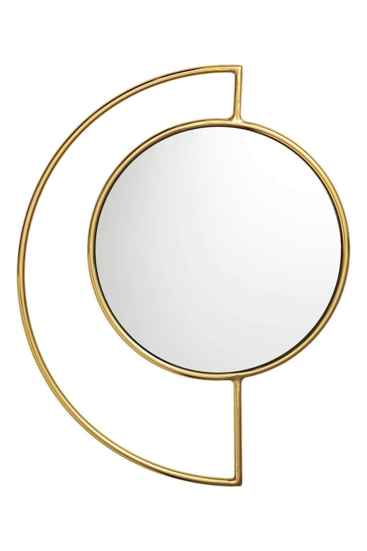 Gold Colored Round Mirror With A Metal Frame Diameter Of Mirror 15 1 4 In Size Of Frame 15 X 19 1 4 I Round Mirrors Mirror Designs Home Interior Accessories