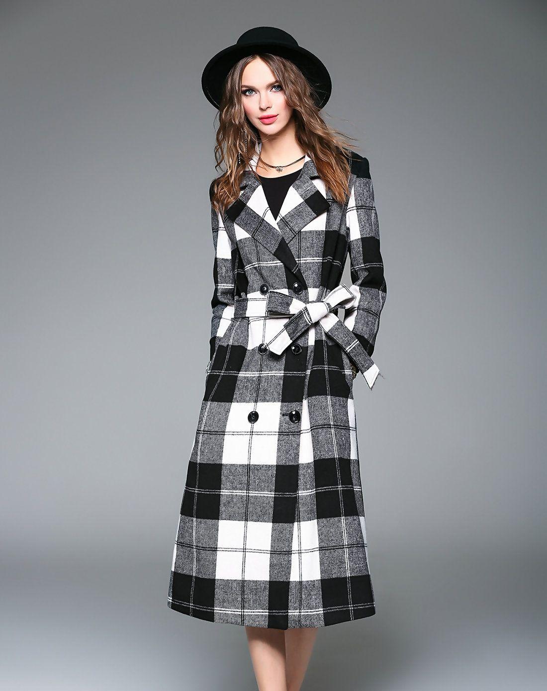 Adorewe queen mulock plaid turndown collar waist tied long coat with