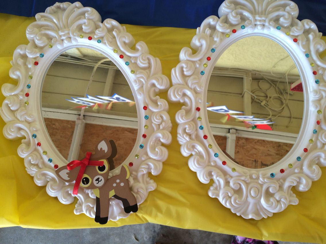 Bedazzled DIY mirrors inspired by Snow White theme.