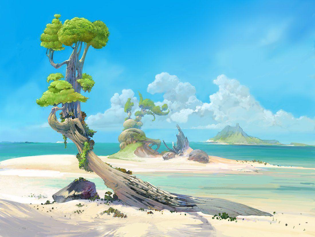 Beach Picture 2d Landscape Beach Fantasy Landscape Environment Concept Art Anime Scenery