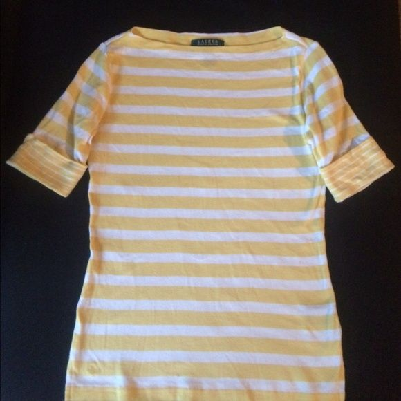a7dfbef0264b54 Ralph Lauren Lauren Adorable striped knit top Yellow and White striped knit  top by Lauren a
