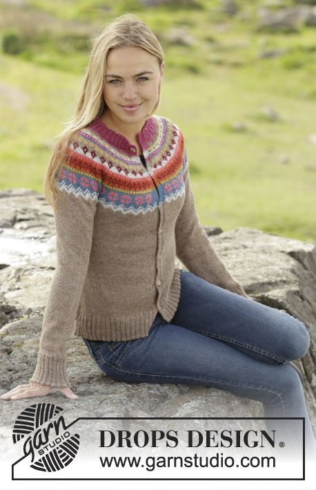 """5a401ade555988 Knitted DROPS jacket worked top down with round yoke and multi-colored  pattern on yoke in """"Alpaca"""". Size: S - XXXL. Free pattern by DROPS Design."""