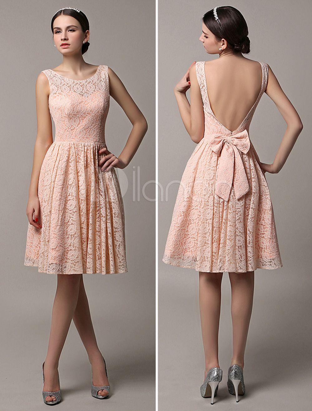 Etui-Brautjungfernkleid Kurz aus Spitze in Rosa Kleider für ...
