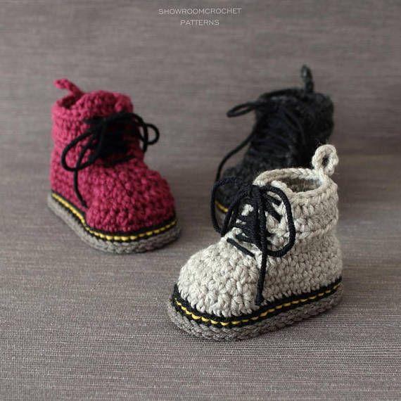 Crochet PATTERN Martens style booties | Babyschühchen, Häkeln und ...