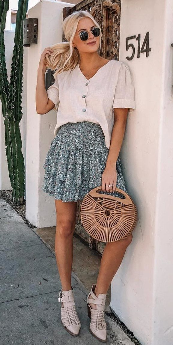 grey floral skirt #spring #outfits