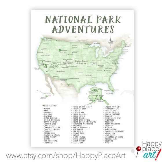 picture regarding Printable List of National Parks identified as Printable List Countrywide Park Map of United states of america, Reward for