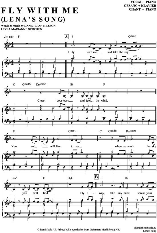 Fly With Me Lenas Song Klavier Gesang Wie Im Himmel Filmmusik Pdf Noten Klick Auf Die Noten Um Reinzuhor Klaviernoten Noten Notenblatter Fur Piano