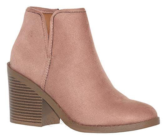 f2064b87e1b MVE Shoes Soda Womens Target Perforated Stacked Block Heel Ankle Bootie. '