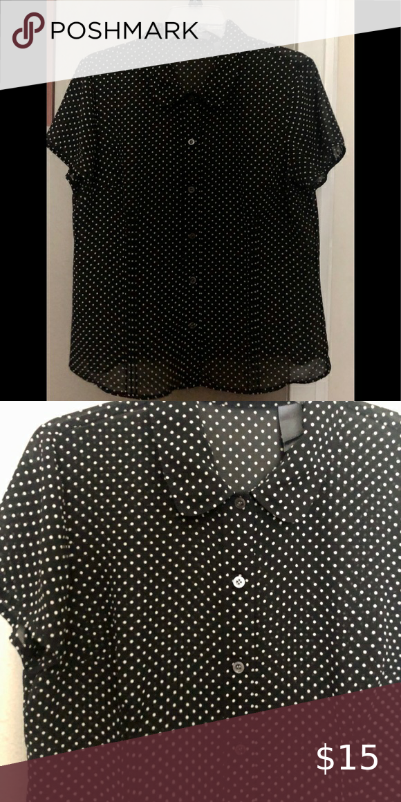 LIZ CLAIBORNE Polka Dotted Button Down Blouse