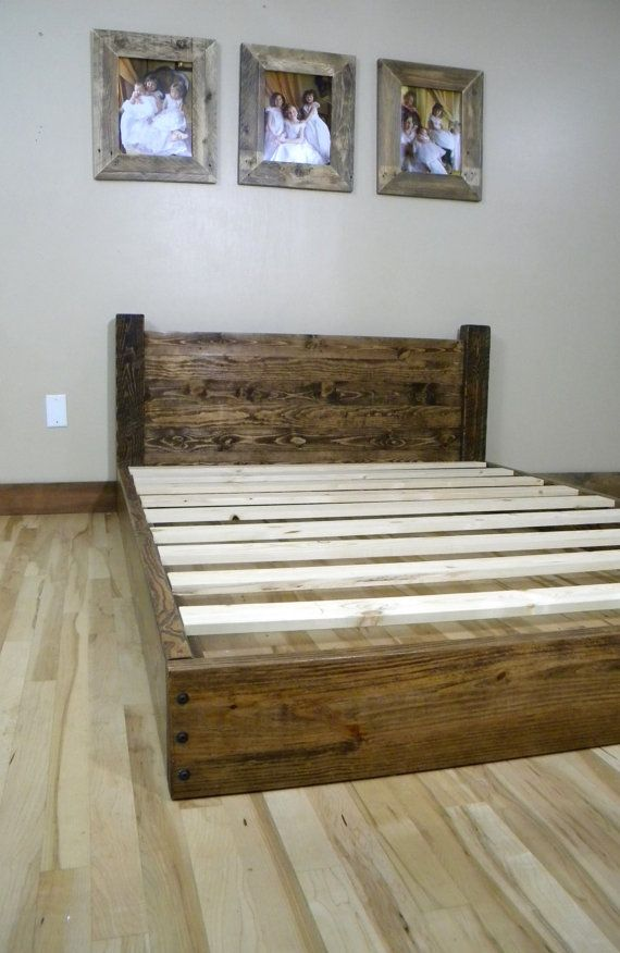 Low Profile Reclaimed Wood Headboard And Platform Bed Frame. Bed Sits 8 Off  The Floor. Bed Shown In A Full Size With Dark Walnut Stain TWIN