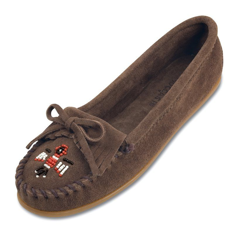 Minnetonka Womens Thunderbird II Moccasins - Dusty Brown Suede