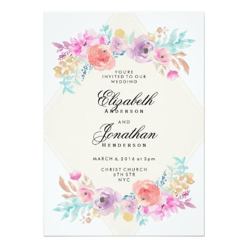 Pastel Watercolor Flowers Wedding Invitation Zazzle Com Pastel