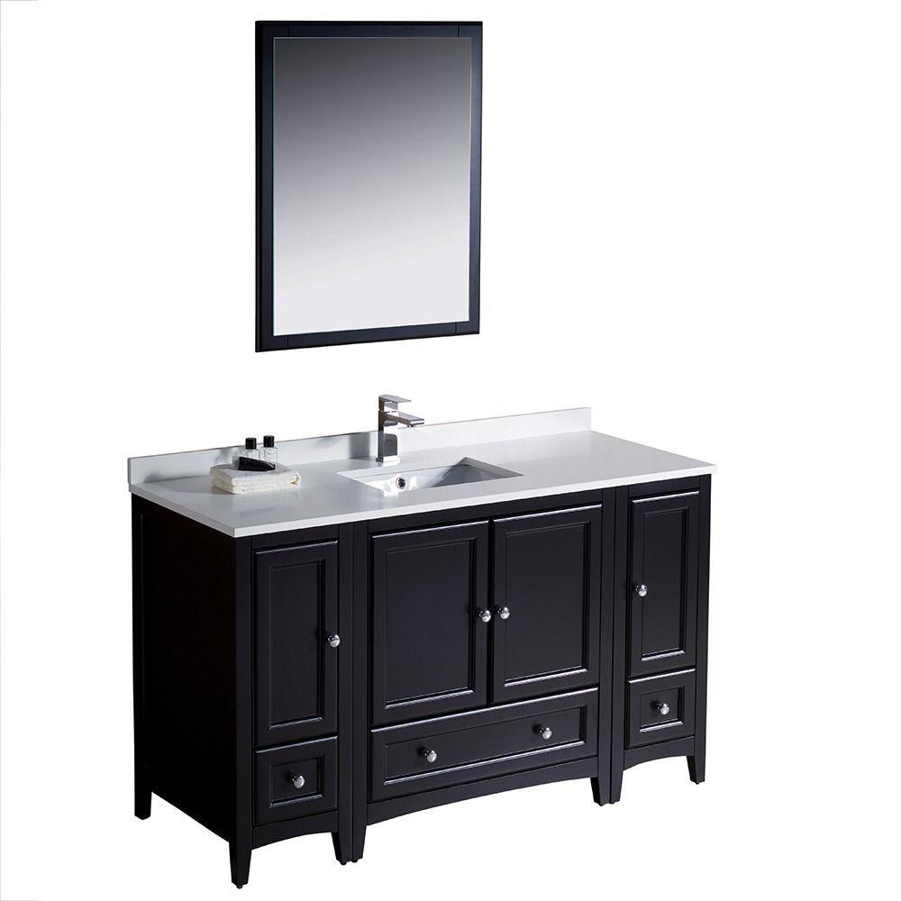 Fresca Oxford 54 Inch Espresso Traditional Bathroom Vanity With 2