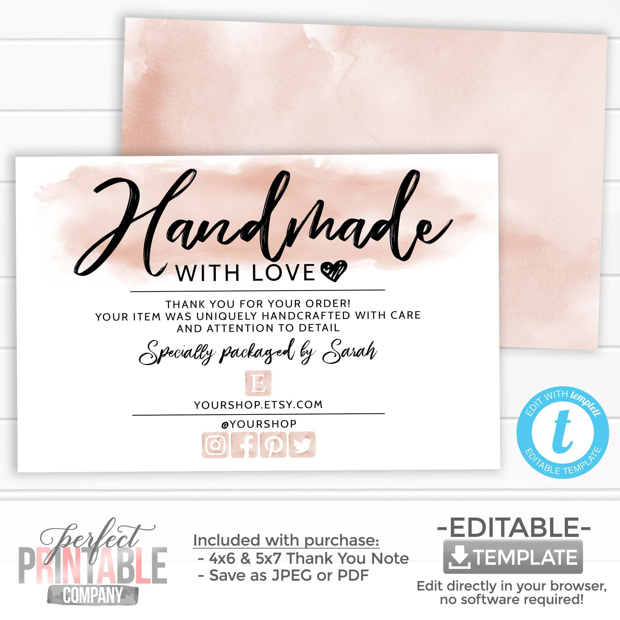 Handmade With Love Card Thank You For Your Order Package Etsy In 2021 Small Business Cards Business Thank You Notes Business Thank You Cards