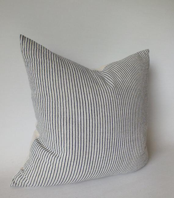 Sashiko Pillows Grey white stripes Ethnic Cushions cover Handmade Fabrics Throw cushions Accent Pill