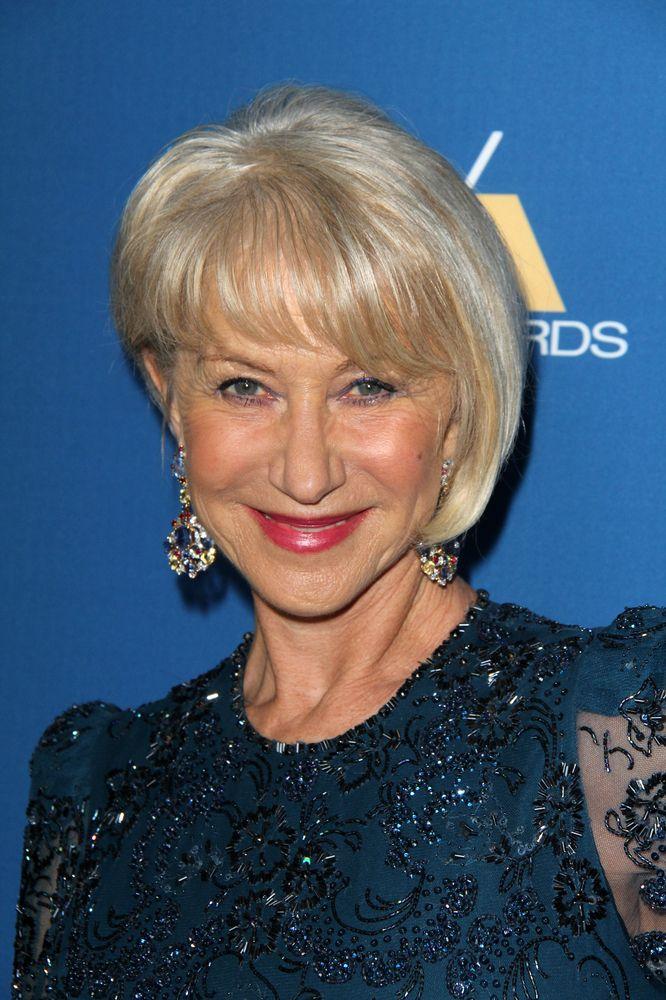 asymmetric haircut on older women Helen Mirren is