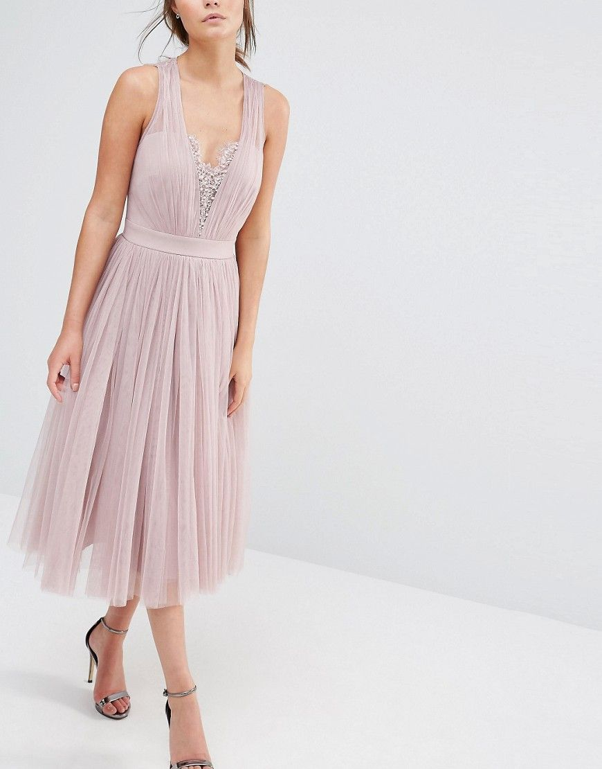ef526a4971 Image 3 of Little Mistress Embellished Midi Dress with Tulle Skirt