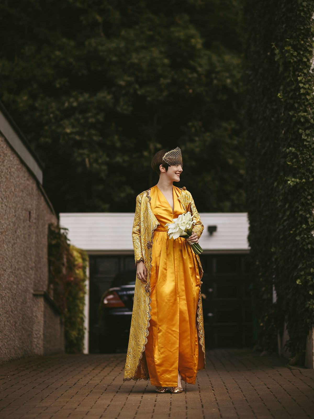 A 70's Yellow Haute Couture Dior Gown and Cardin Cape for