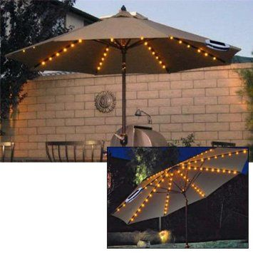 48 LED Outdoor Garden Parasol 6 String Chain Lights - Dual Function