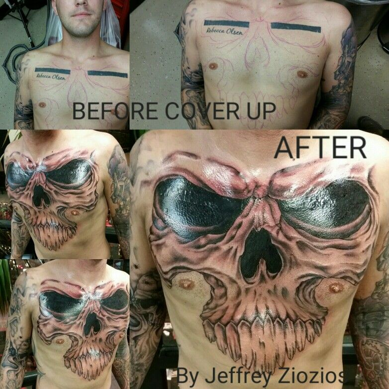 Skull Cover Up Tattoo Hand Drawn By Jeffrey Ziozios At Bay City Tattoos In Tampa Florida Tattoo Tattoos Black And Grey Tattoos Cover Up Tattoo City Tattoo