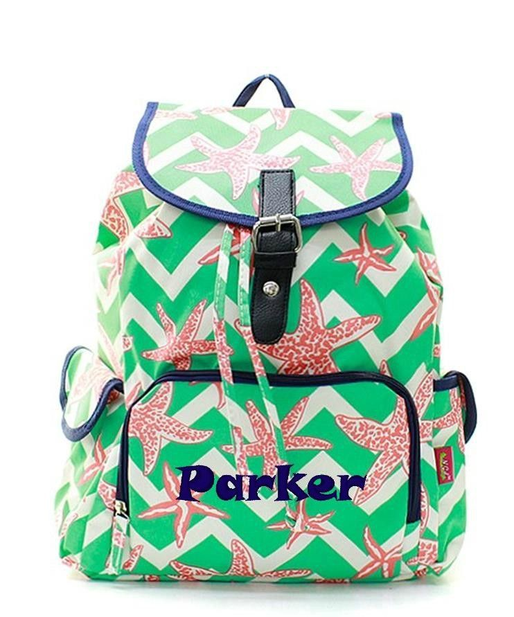 406b96d5bc34 Personalized Starfish Chevron Mint Coral Large Knapsack Backpack ...