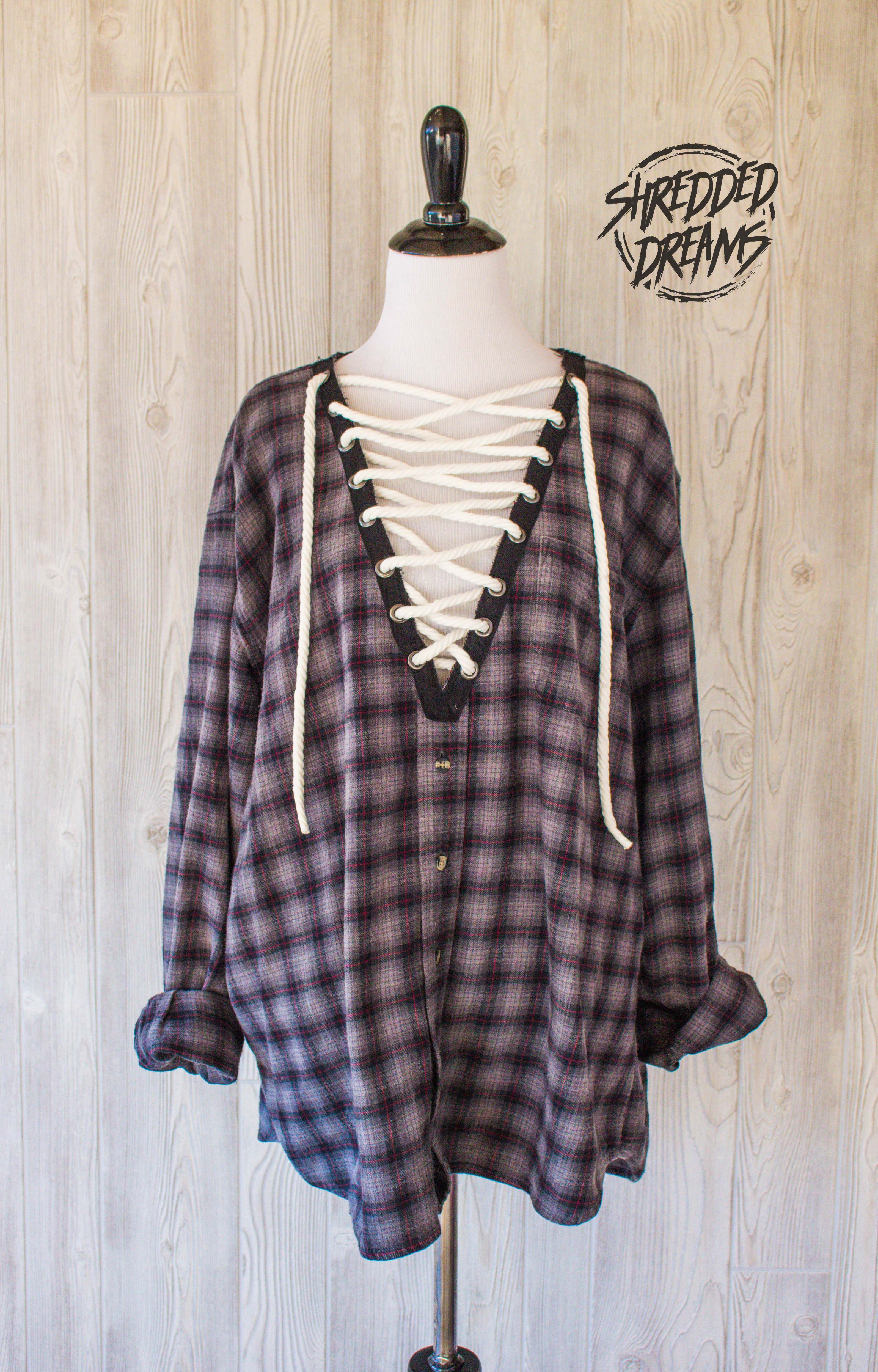 Grunge flannel outfits  Custom hand laced grunge flannel shirt from Shredded Dreams