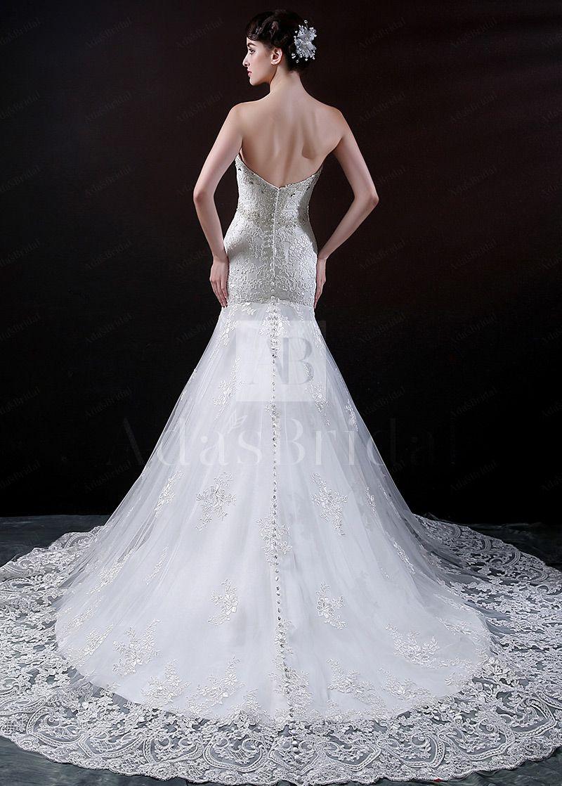 Tulle mermaid wedding dress  Elegant Tulle Mermaid Wedding Dress With Lace Appliques u Beads
