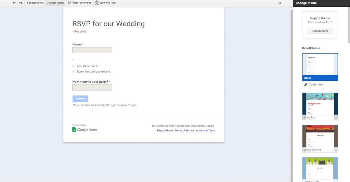How to use Google Docs to create an online wedding RSVP - wedding spreadsheet google docs